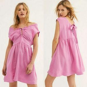 Free People Olivia Shapeless Linen Blend Mini Dres
